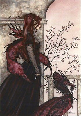Amy Brown Fairy Faery Fantasy Art Print Faery and her Pet Dragon Goth Gothic