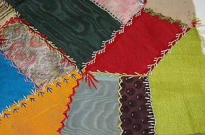 Antique Early Initial Crazy Quilt Block Colorful Intricate Stitching N