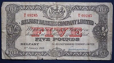 1966 Belfast Banking Company Ltd, Five pounds, £5 note Hand Signed *[7993]