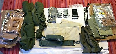 US Army Surplus Lot 10+ Great Items, MREs, ACH Mounting Bracket, Tactical Gloves