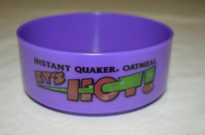 1992 Quaker Instant Oatmeal It's Hot Plastic Purple Bowl