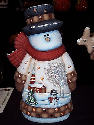Ceramic Bisque Ready to Paint Large Church Scene Snowman Clipin light/bulb incl.