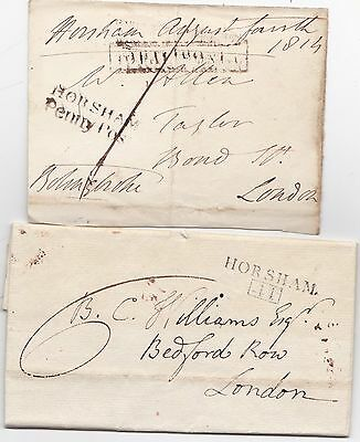 1806/14  Horsham Boxed Mileage & Penny Post Letter & Free Front - Sussex