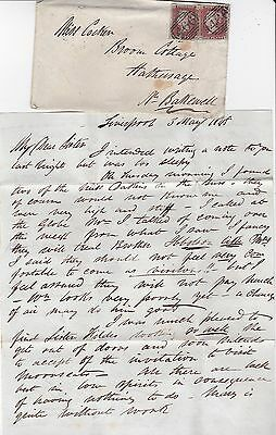 1848 Liverpool Cover & Letter From Brother To Miss Cocker Hathersage Postmark
