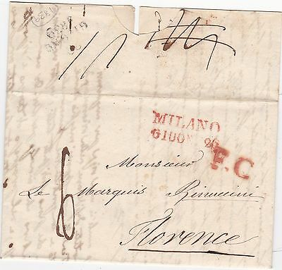 1839 Milano &  Fc Red Postmarks Letter To Marquis In Florence - Firenze Italy