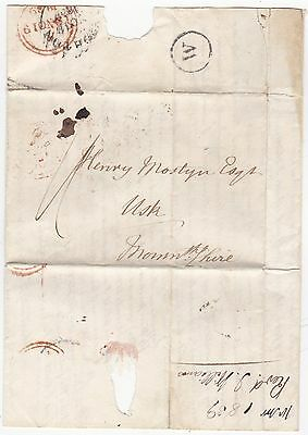 1839 W In Circle Brighton Sub Po Rev I Williams Letter To Henry Mostyn In Usk