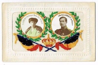 Ww1 Embroidered Silk Postcard Belgian Flags Belgium Royalty Photo Insert C.1916