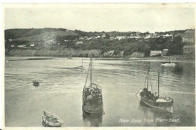 New Quay From Pier-Head Boats Moored C1930 Early Postcard