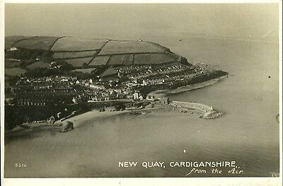 Newquay Cardiganshire From The Air C1930 Real Photo Postcard