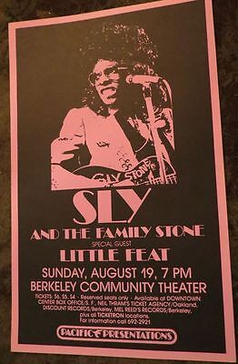 ORIGINAL 70s '73 SLY & THE FAMILY STONE CONCERT POSTER Little Feat Berkeley CA.