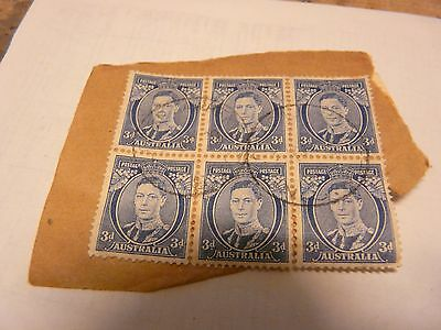 Block of six George VI 3 pence stamps.