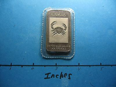 Cancer Crab Zodiac 1983 National Mint Sealed 999 Silver Bar Coin Rare Cool #a