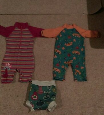 2 girls swim suits 12-18m and splash about nappy large