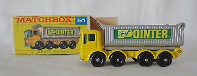 MATCHBOX LESNEY POINTER 8 WHEEL TIPPER TRUCK No. 51, MINTY WITH THE BOX