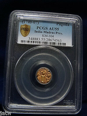 India - Madras Presidency. 1740-1807, Gold Pagoda.. PCGS AU55