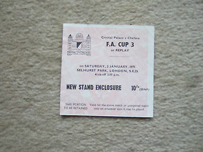 chelsea away ticket v crystal palace 2/1/71 fac