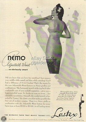 1940 Lastex Nemo Adjustable Vintage Girdle Bra Print Ad : Vintage Advertising
