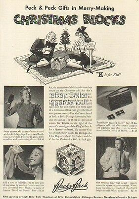 1940 Christmas Blocks~gift box~Peck womens fashion Original Vintage Print Ad