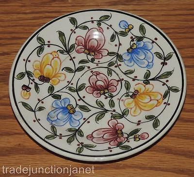 """Vintage 4-7/8"""" Portugal Rosa Hand Painted Decorative Floral Dish/plate/saucer"""