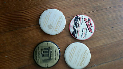 4 Paperweight Pocket Mirrors,1947 Indiana Insurance,Envelopes,Guardian Engineer