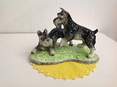 2 Schnauzer Dogs On A Green Grass Base Large Ceramic Collectible