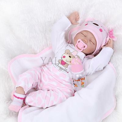22''Handmade Lifelike Baby Boy Girl Silicone Vinyl Reborn Newborn Dolls New UK