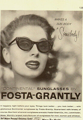 "1956 Vintage ad for FOSTA-GRANTLY ""Continental"" Sunglasses`Pointy Glasses"