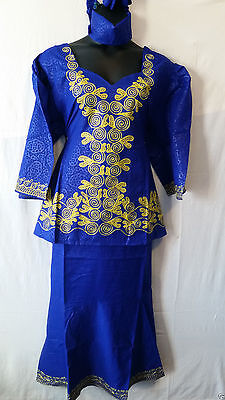 Women Clothing Ethnic African Skirt Suit Dashiki Boho Style #17 Blue One Size