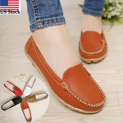 Women Casual Leather Slip On Comfort Shoes Moccasin Oxfords Loafers Flat Shoes