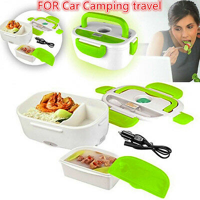 Portable Car Plug Heating Box Travel Outdoor Food Warmer Lunch Box +Spoon Bento