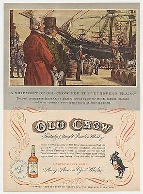 1951 Old Crow Whiskey European Trade Clipper Ship Ad
