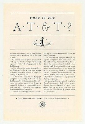 1931 What is the AT&T Bell Telephone System Ad