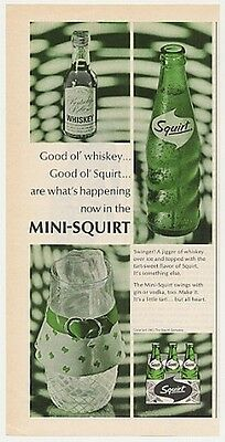 1967 Squirt Soda & Whiskey Mini-Squirt Bottle Photo Ad