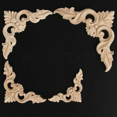 Classic European Style Wood Carved Corner Onlay Unpainted Furniture Home Décor