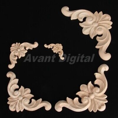 Unpainted Wooden Carved Corner Onlay Applique Furniture Home Decorative 4-12cm