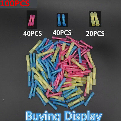 100pcs Assorted 22-10 Heat Shrink Butt Electrical Wire Crimp Terminal Connectors