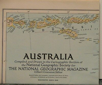 1948 National Geographic Map of Australia