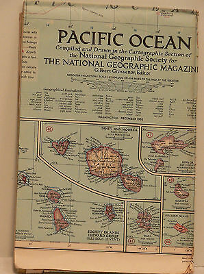 Vintage 1952 National Geographic Map of the Pacific Ocean