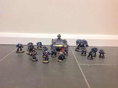 Warhammer 40k  space marine squad army war boss and tank