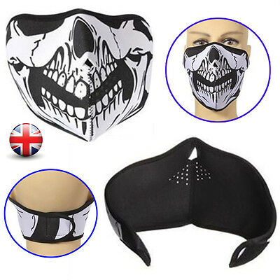 Skull Black Reversible Neoprene Half Face Mask Ski Snow Motorcycle Sport Biker