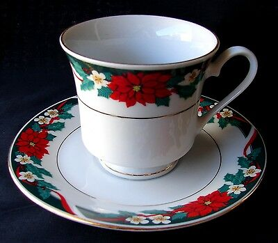 Tienshan Deck The Halls Cup & Saucer Set(S) Poinsettia