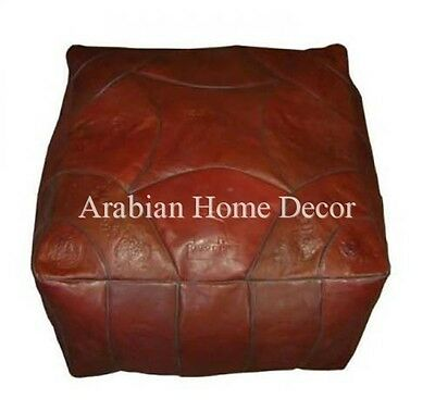 Handcrafted Moroccan Square Brown Leather Ottoman Footstool Pouf Pouffe