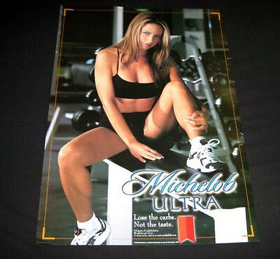 2 Michelob Ultra Beer SeXy Model Workout Girl on weght machine Pin Up Poster LOT