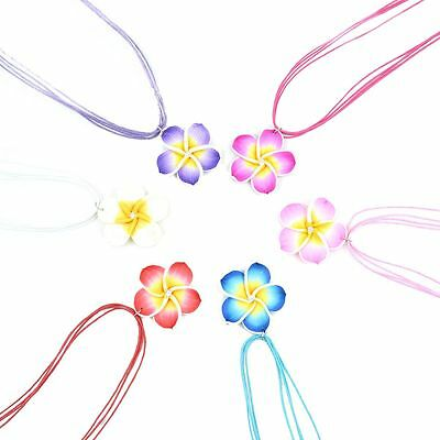 Trendy Costume Clay Fimo Frangipani Necklace Earrings Jewellery Sets 6 Colors