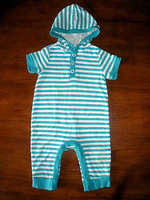 OLD NAVY AQUA & WHITE STRIPE SHORT SLEEVE COTTON HOODED JUMPSUIT -  18-24 Mos