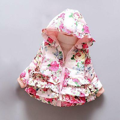 New Baby Toddler girls spring winter Floral Printed Hooded Coat Outerwear Jacket