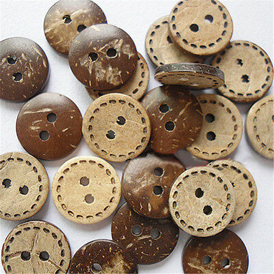 100pcs Coconut Wood Husk Buttons 2 Holes Cloths Sewing Crafts DIY Accessories
