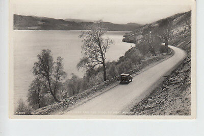 Early car on road to Fort Augustus on banks of Loch Ness, Inverness-shire