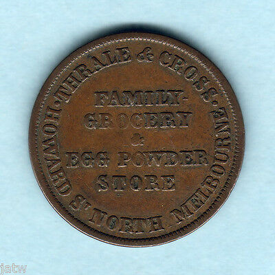 Australia Token . Thrale & Cross - 1/2d.. North Melbourne Vic.. Upset Axis.. VF