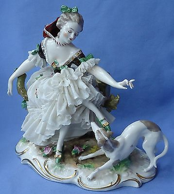 Antique Whippet Italian Greyhound Dog Lady Passau Dressel Kister Germany 7""